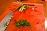 Chopped herbs.