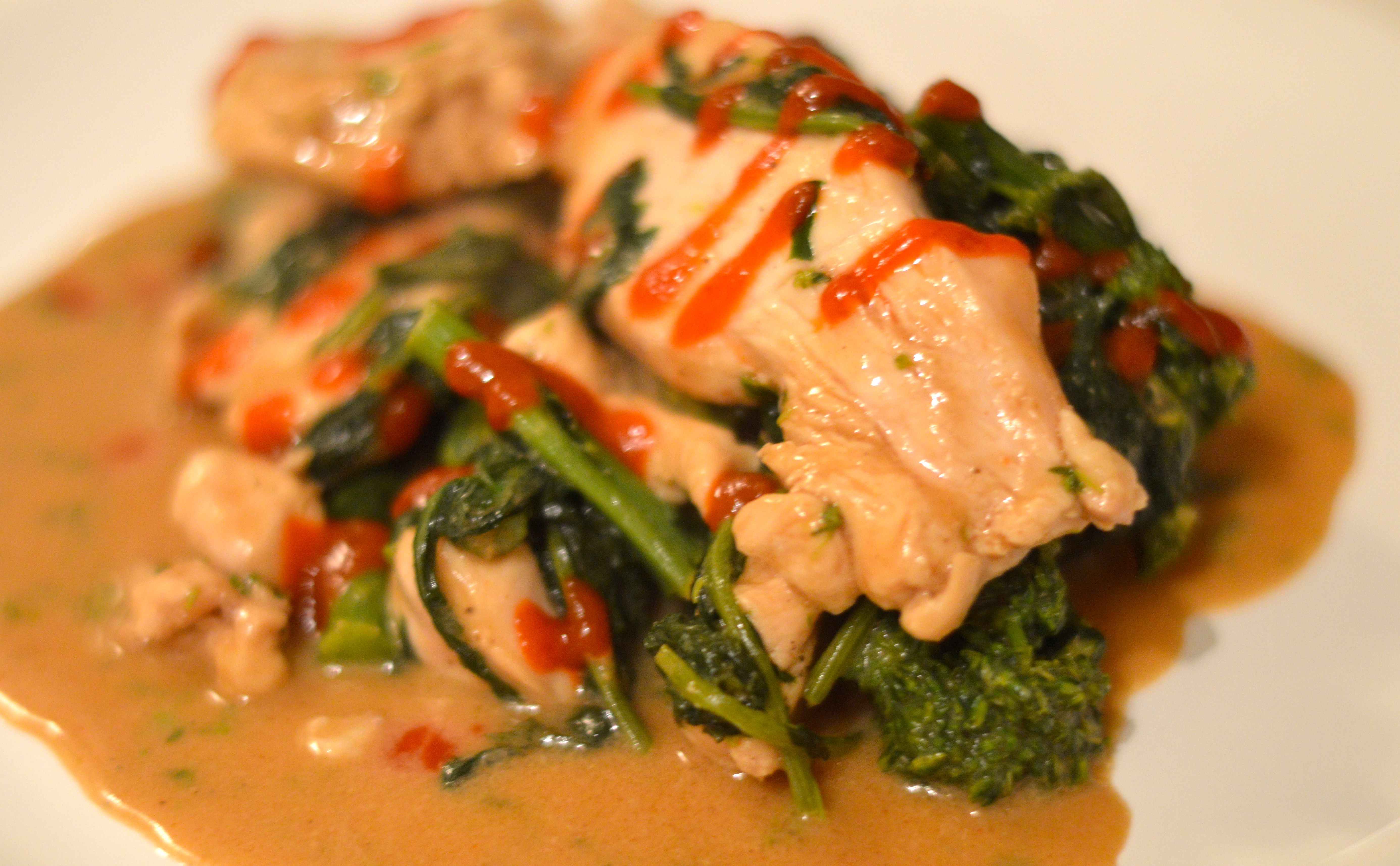 Chicken And Broccoli Rabe Stir-Fry With Spicy Peanut Sauce -6694