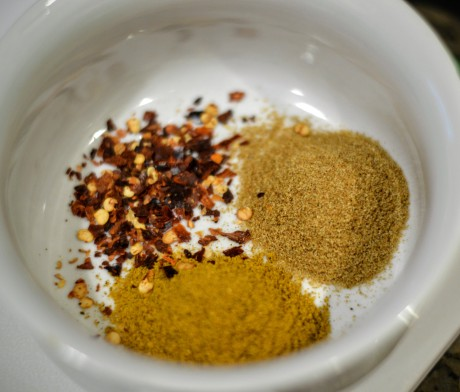 curry, cumin and chile flakes - Bachelors Test Kitchen