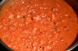 tomatoes simmering - Bachelors Test Kitchen
