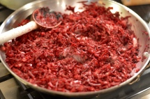 Beets cooking for risotto - The Bachelor's Test Kitchen
